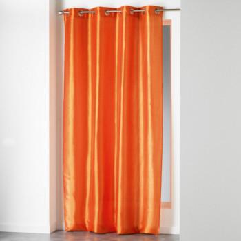 Rideau taffetas orange effet soie grande hauteur