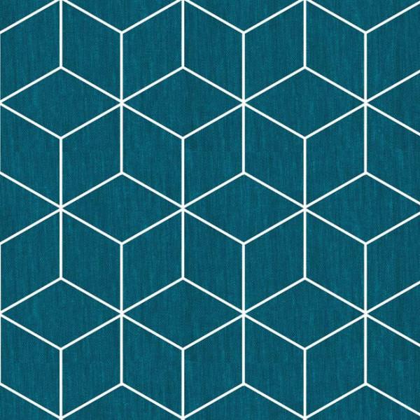 Tissu enduit géométrique bleu 140 cm