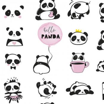 Tissu coton imprimé Panda 150 cm