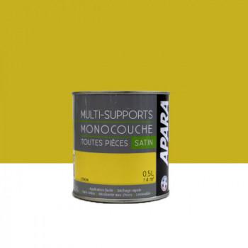 Peinture Apara multi-supports  Murs, plafonds, boiseries, plinthes...  jaune citron satin 0,5L