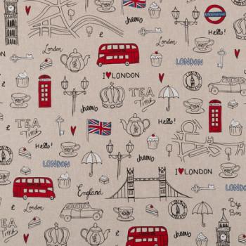 Tissu coton effet lin motif london 140 cm