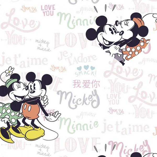 Tissu coton Love Minnie et Mickey 150 cm