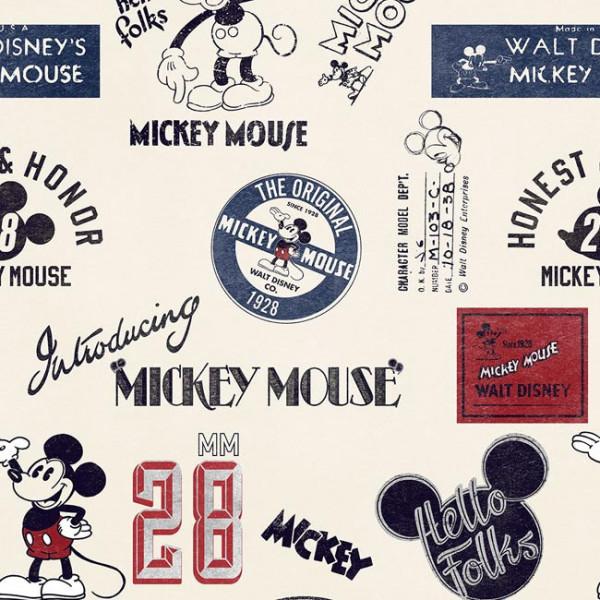 Tissu coton beige imprimé Mickey &...