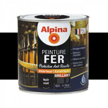 Peinture alpina antirouille spéciale fer noir profond brillant 0,5L