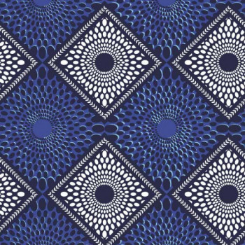 Tissu coton géométrique bleu 150 cm