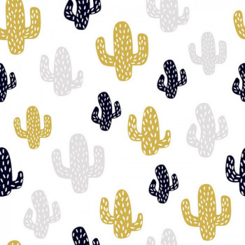 Tissu coton cactus noir et moutarde 150 cm