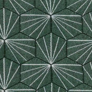 Tissu jacquard géométrique vert 140 cm