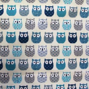 Tissu cretonne imprimé hiboux bleu 160 cm
