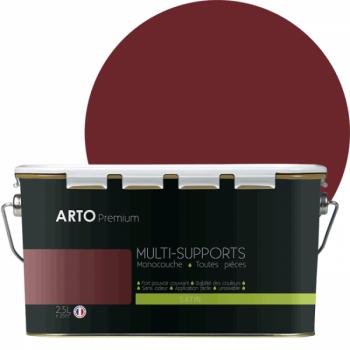 Peinture arto premium multi - supports murs, plafonds, boiseries, plinthes et radiateurs rouge glamour  satin 2,5 L