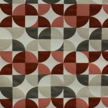 Tissu jacquard géométrique rouge et beige 140 cm