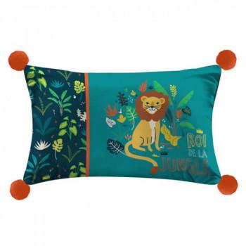 Coussin rectangle jungle avec pompons