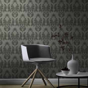 Papier peint intissé baroque gris foncé