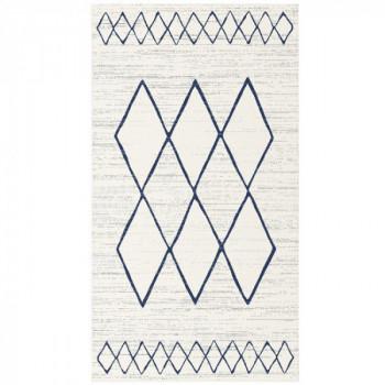 Tapis ethnique Blanc Bleu 60 x 110 cm