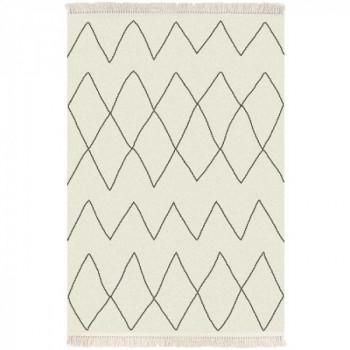 Tapis motif ethnique beige à franges 200 x 290 cm