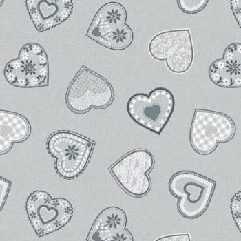 Toile cirée grise romantique 140 cm
