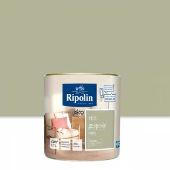 Peinture Ripolin Esprit Déco Murs, plafonds, boiseries et radiateurs vert gaspesie satin 0,5L