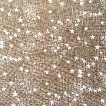 Tissu effet lin pluie d'étoiles blanches 150 cm