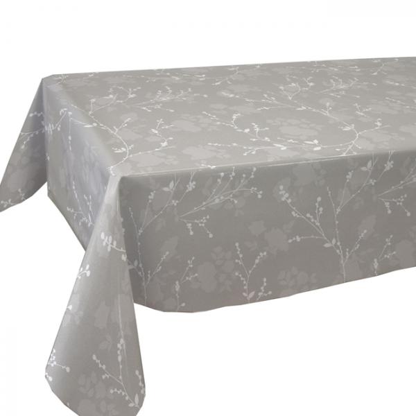 Toile cirée grise motif bourgeon 160 cm