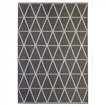Tapis géométrique gris foncé et blanc 160 x 230 cm