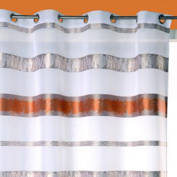 Rideau œillets voile jaquard blanc bandes orange