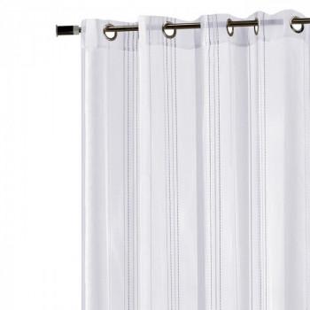 Rideau voile tissé blanc rayures blanches grande largeur