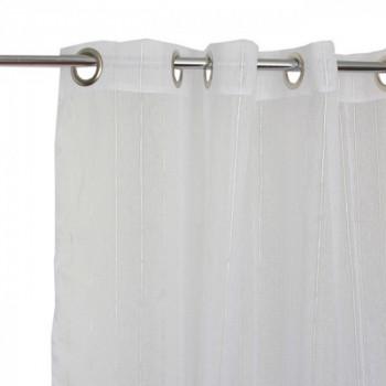 Rideau œillets étamine blanc rayures lurex