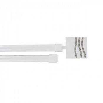 Kit tringle extensible double barre Strass blanc laqué 120-210 cm