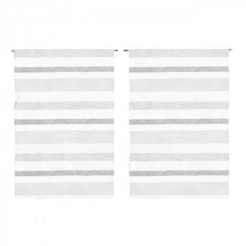 Store remontable blanc à rayures beige et écru 60 x 160 cm