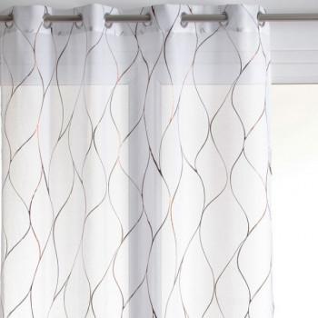 Rideau voile blanc grande hauteur imprimé cuivre