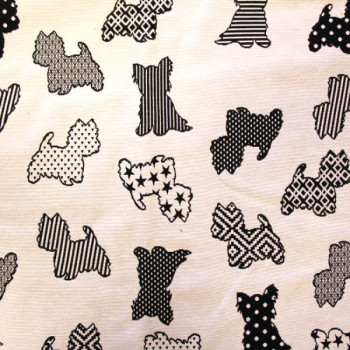 Tissu jacquard petits chiens noir et blanc 140 cm