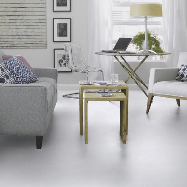 Sol PVC décor béton blanc