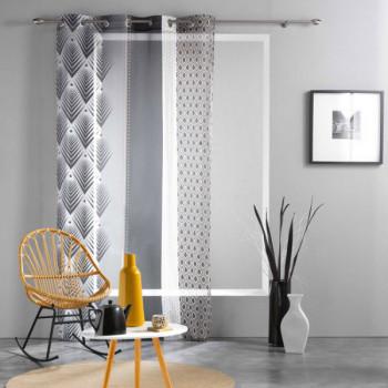 Rideau voile imprimé géométrique noir et blanc