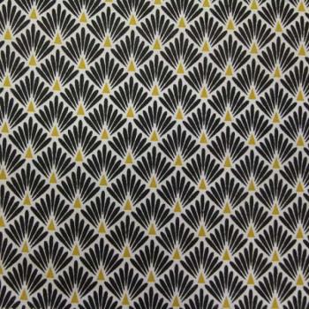 Tissu cretonne motif écailles noires 160 cm