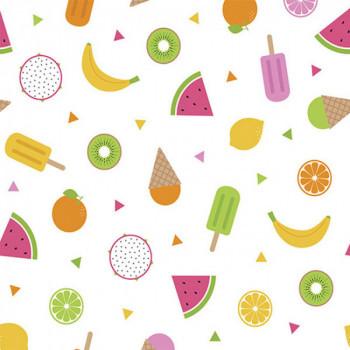 Tissu coton multicolore motifs été 150 cm