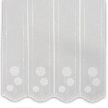 Brise-bise étamine blanc fleur brodée 60 cm