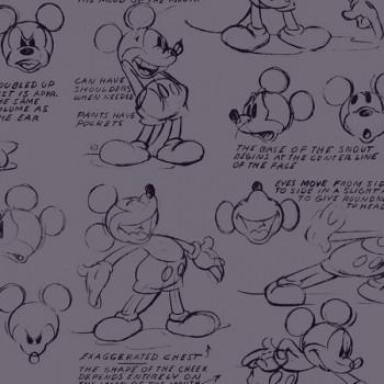 Tissu coton gris imprimé Mickey & Friends 150 cm