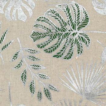 Tissu toile coton imprimé feuillage 140 cm