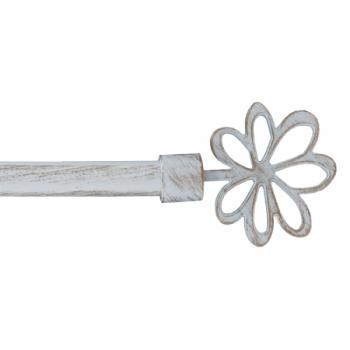 Kit tringle extensible blanche Marguerite 120-210 cm