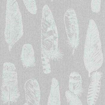 Papier peint intissé lessivable gris Plumes