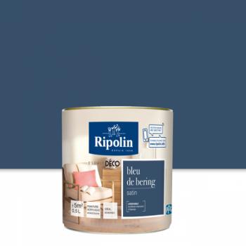 Peinture Ripolin Esprit Déco Murs, plafonds, boiseries et radiateurs bleu bering satin 0,5L