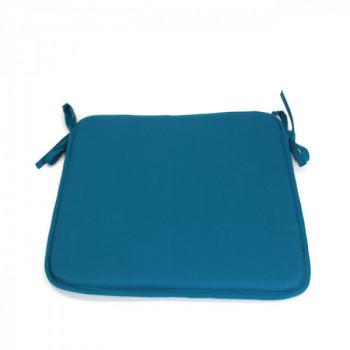 Galette de chaise carrée bleu canard 40x40 cm