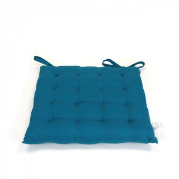 Galette piquée 16 points bleu canard 40x40 cm