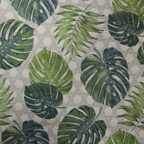 Tissu jacquard motif feuilles 140 cm
