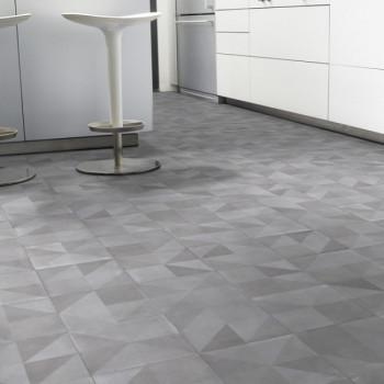 Sol PVC décor prismes gris