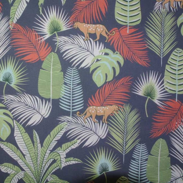 Tissu cretonne dessins jungle et...