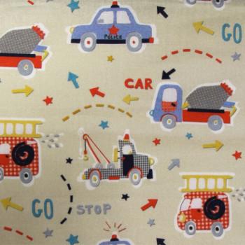 Tissu coton imprimé camions 150 cm