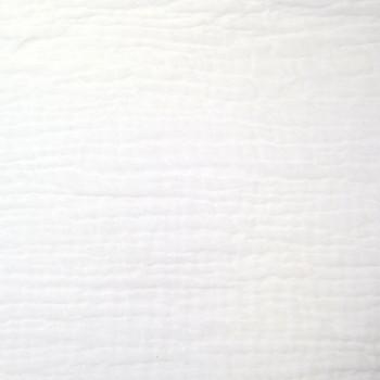 Tissu double gaze gaufrée de coton uni blanc 130 cm