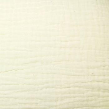 Tissu double gaze gaufrée de coton uni écru 130 cm
