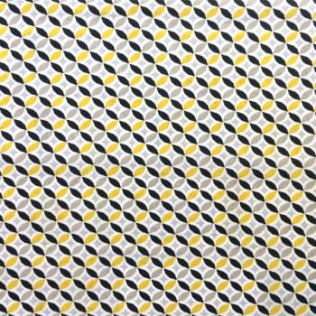 Tissu cretonne rosaces jaune 150 cm