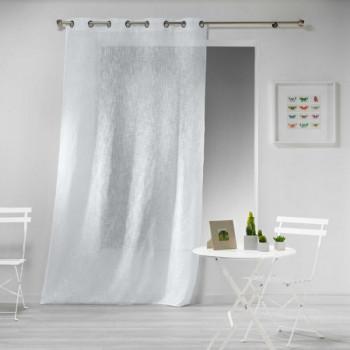 Rideau étamine effet lin tissé blanc